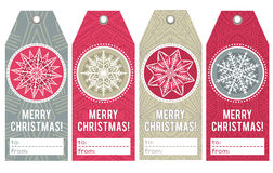 Christmas labels with stars and snowflakes, vector Royalty Free Stock Image