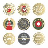 Christmas labels and tags collection with Santa Claus and New Year wishes typographic royalty free illustration