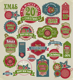 Christmas labels, tags, decorative items Royalty Free Stock Images