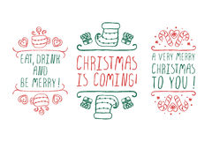 Christmas labels with text on white background Royalty Free Stock Photo
