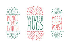 Christmas labels with text on white background. Handdrawn christmas badges with text on white background.  Peace on earth. Merry Christmas. Winter hugs Stock Photography