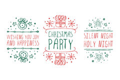 Christmas labels with text on white background Stock Photos