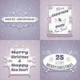 Christmas labels white set Royalty Free Stock Photos