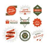 Christmas lables retro style. Vector design concept Stock Photo
