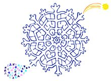 Christmas labyrinth. Labyrinth for kids hidden in the snow flake. find your way from the little  flakes to the yellow star Stock Image