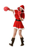 Christmas lady fighting Stock Photo