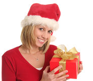 Christmas lady and a gift Stock Image