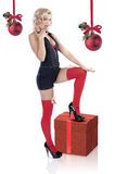 The christmas lady pin up Stock Image