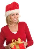 Christmas lady and a present. royalty free stock images