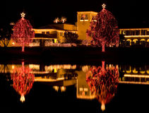 christmas lake lights reflected Στοκ Εικόνες