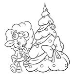 Christmas lamb girl tree coloring page Stock Images