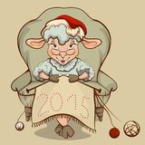 Christmas lamb sitting in a chair and knits symbol 2015 Royalty Free Stock Photography