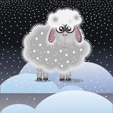 Christmas lamb in the snow Royalty Free Stock Photography