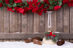 Christmas Lamp and Pine Cones Stock Photo