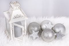 Christmas lamp and silver decoration Royalty Free Stock Photography