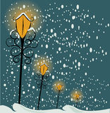 Christmas lamppost background. Christmas lamppost and snow background illustration Stock Photography