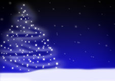 Christmas landscape. Abstract illustration of a winter landscape with christmastree Stock Images