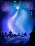 Christmas landscape. With snow, the stars and the woman's face Royalty Free Stock Image