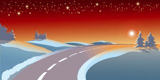 Christmas landscape. Abstract vector illustration for christmas greeting card Stock Photo