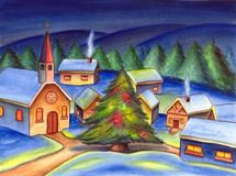 Christmas landscape vector illustration