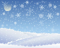 Christmas landscape. An illustration of an abstract christmas landscape with patchwork fields covered with snow under a blue snowflake sky Royalty Free Stock Photo