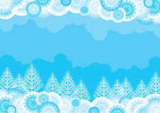 Christmas landscape. Vector Blue background with a white ornate forest for a christmas card Stock Photos