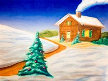 Christmas landscape. Snow covered christmas landscape. Hand drawn illustration Royalty Free Stock Images