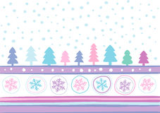 Christmas landscape. New Year's celebratory background, fur-trees, snowflakes. Can be used as a pattern for a packing paper Stock Images