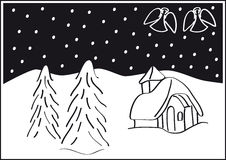Christmas landscape. Trees, snow, angels, and a tiny church. Black and white  vector illustration Stock Images