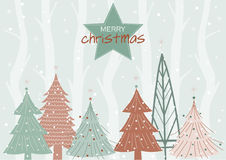 Christmas landscape background with snow and tree,Christmas and New Year background,Vector illustrations Stock Image