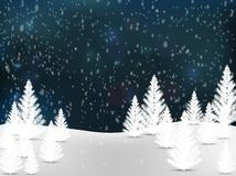 Christmas landscape background with snow and tree, wish card Stock Photos
