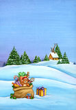 Christmas landscape with beautiful presents, trees and house on a hill. Royalty Free Stock Images