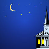 Christmas landscape with Church Spire,  moon and stars Royalty Free Stock Photos