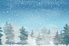 Christmas landscape with Falling Christmas snow, coniferous forest. Holiday winter landscape for Merry Christmas and Happy New Yea