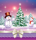 Christmas landscape with fir tree. And a snowman decoration Stock Images