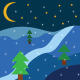 Christmas landscape flat 2d. Snow river Stock Photography
