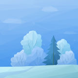 Christmas Landscape, Forest Low Poly Royalty Free Stock Photography