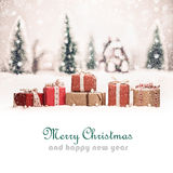 Christmas landscape with gifts Royalty Free Stock Images