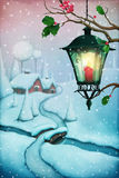 Christmas landscape. Greeting card Christmas with street lantern and Christmas village. Computer graphics Royalty Free Stock Photo
