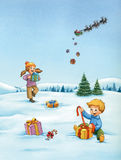Christmas landscape with happy kids opening their presents and santa sleigh. Stock Image