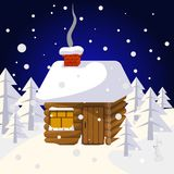 Christmas landscape with house in forest trees and wild animals Stock Image
