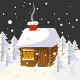 Christmas landscape with house in forest trees and wild animals Stock Photography