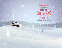 Christmas landscape with house. And snowfall Royalty Free Stock Photos