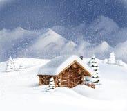 Christmas landscape - hut, snow, pine trees. Christmas winter landscape - wooden hut, snow, pine trees, mountains. Copy space, illustration Royalty Free Stock Photo