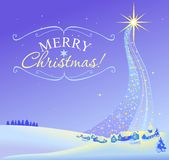 Christmas landscape illustration of the star Stock Photography