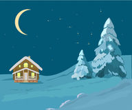 Christmas landscape illustrations Royalty Free Stock Photography