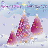 Christmas landscape. MERRY CHRISTMAS and a HAPPY NEW YEAR. Royalty Free Stock Photo