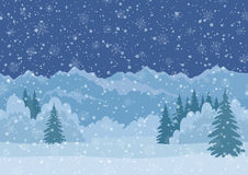 Christmas Landscape, Mountains, Seamless Stock Photography