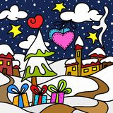 Christmas landscape at night Royalty Free Stock Image
