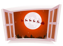 Christmas Landscape Outside The Window. Illustration of a cartoon christmas holidays landscape outside an open window, with santa character and reindeer flying Royalty Free Stock Photo